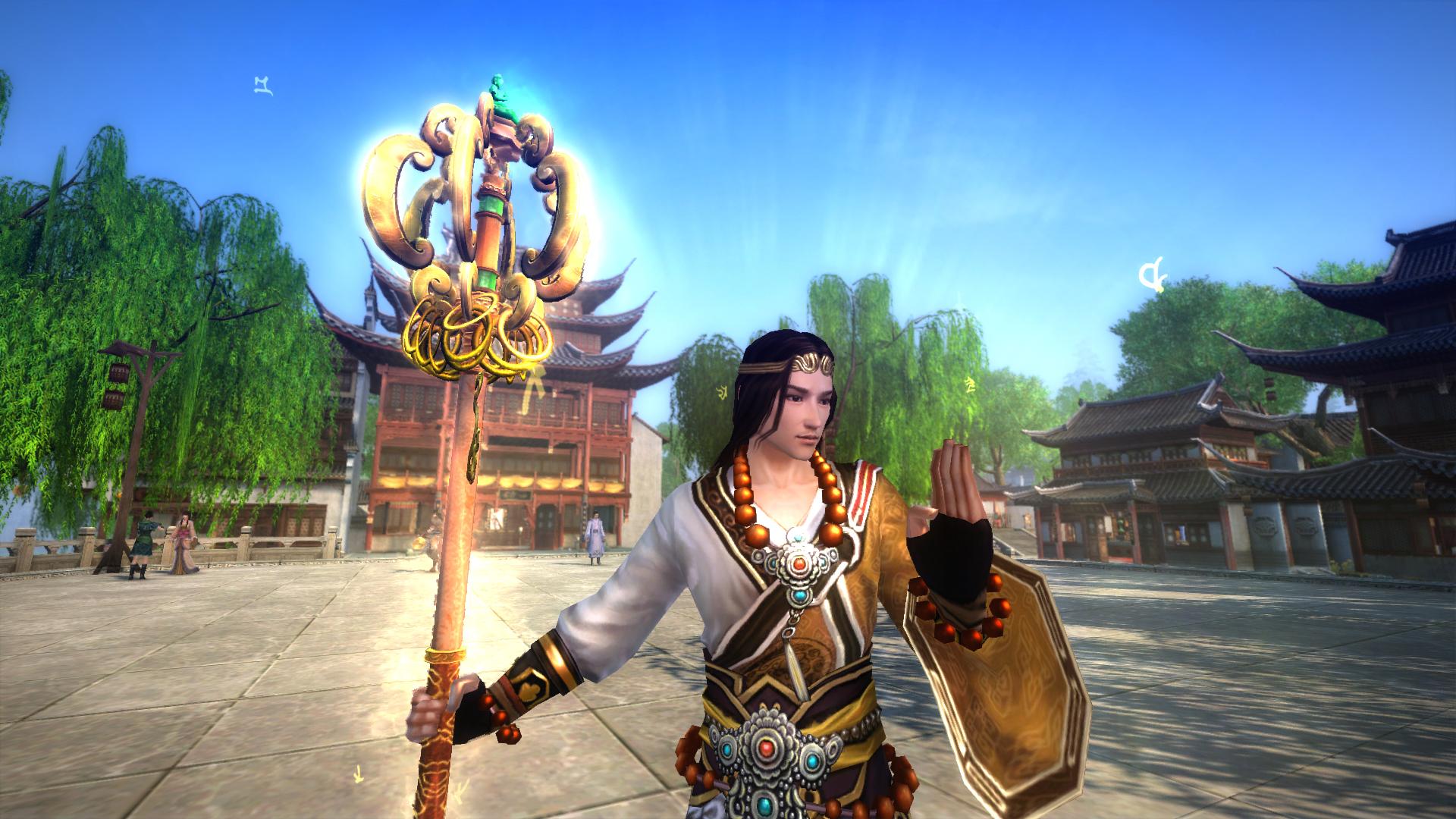 得道僧人常持以防身之物,相传为少林玄慈方丈的武器.杖通体金色,