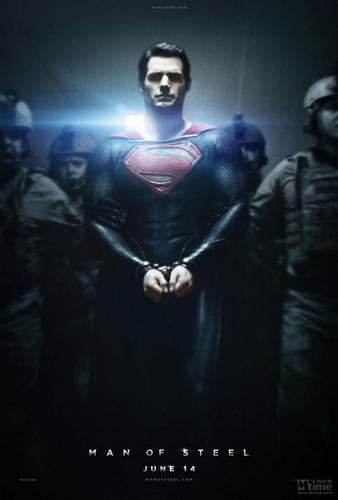 超人黑白电影海报手绘